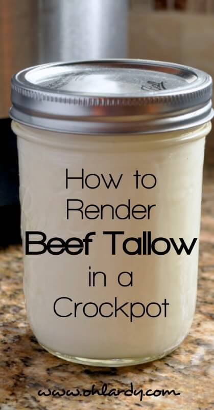 How to Render Beef Tallow in a Crockpot.  This healthy, traditional, nourishing fat is easy to cook with and makes food taste delicious.  Tallow is also good for making skin care products such as lip balm, skin salves and deodorant.  - www.ohlardy.com